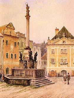foto de uma pintura antiga mostrando uma coluna rodeada por uma fonte na praça principal da cidade medieval de Cesky Krumlov