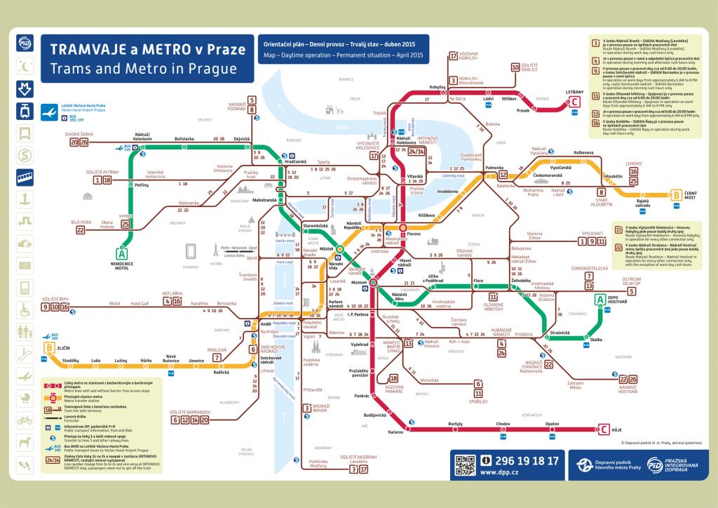 mapa com as principais linhas de metrô de Praga