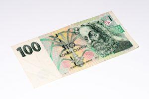 nota de 100 Kc, dinheiro da República Tcheca
