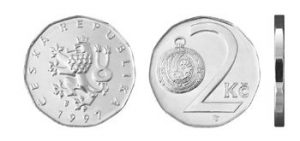 Moeda de 2 Coroa Tcheca