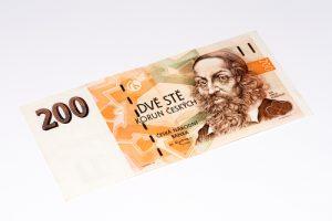 Coroa Checa, imagem de 200 Coroas, dinheiro da República Tcheca