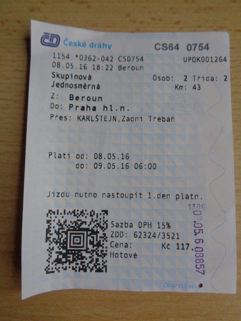 ticket de trem em Praga