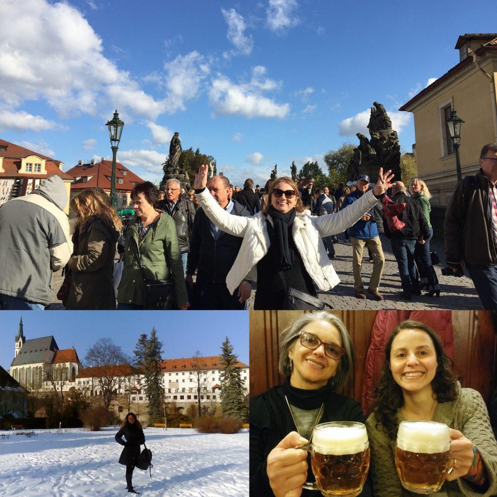 Montagem fotográfica com turistas passeando pelas ruas de Praga sorrindo e posando para fotos. Na última foto, Raquel, autora do blog, tomando um caneco de 500 ml de cerveja pilsen com a cliente Maria Angelina Braga.