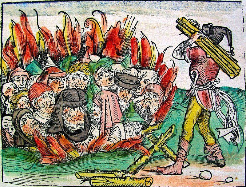 """Ilustração retirada do livro """"As Crônicas de Nuremberg"""" de 1493, que mostra vários judeus sendo queimados vivos em uma fogueira"""